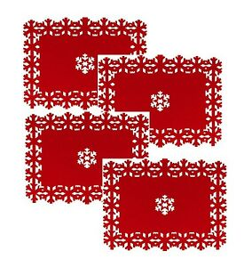 Beautiful Christmas Placemats Set 4 8 12 Snowflake
