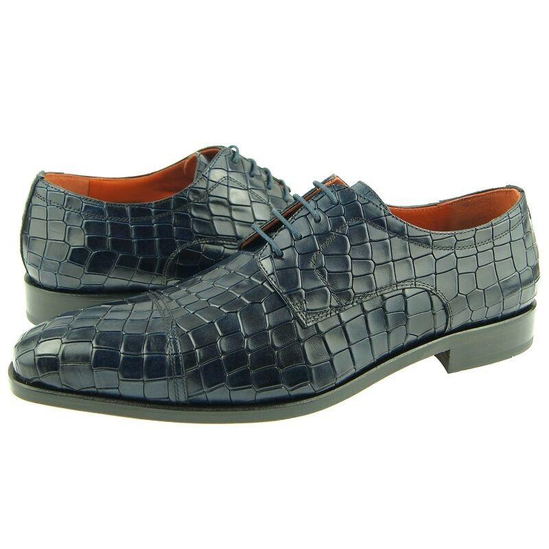 promozioni Lorens    Fabio  Cap Toe Derby, Crocodile Print Uomo Dress scarpe, Navy  100% autentico
