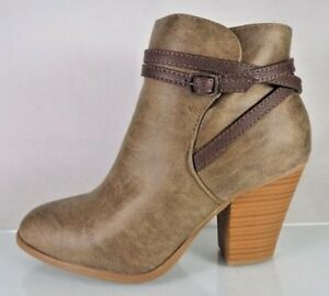4617b17d3be Details about NEW~SHOEDAZZLE~SASHANNA~BROWN ANKLE BOOTS~ZIP HEEL BOOTIES  SHOES~WOMENS SIZE 9.5