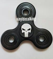Tri-Spinner Fidget Toy Ceramic EDC Hand Finger Spinner Desk Focus BLACK Skull