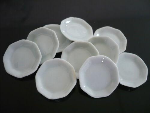10 White Hexagonal Plates Dollhouse Miniatures Ceramic Deco Food