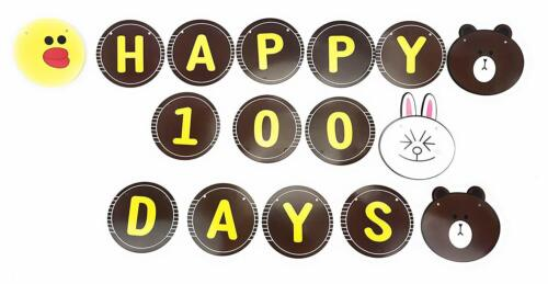 Bunny /& Bear AEX 16 Card Circle Happy 100 Days Paper Bunting Banner
