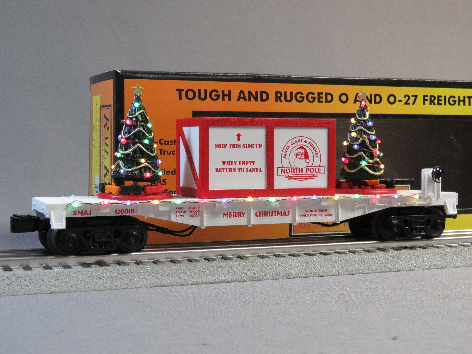 MTH RAIL KING CHRISTMAS FLATCAR LIGHTED TREES O GAUGE train WHITE 30-76734 NEW