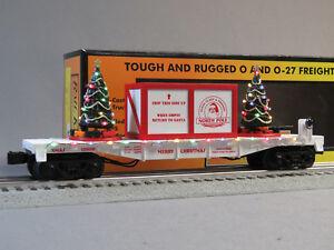 MTH White Flat Car w// Lighted Christmas Trees Christmas O-Gauge
