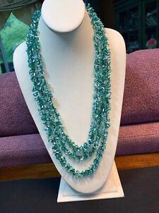 Vintage Boheniman Green Aqua Interesting  Seed Multi Strand Long Necklace Boho