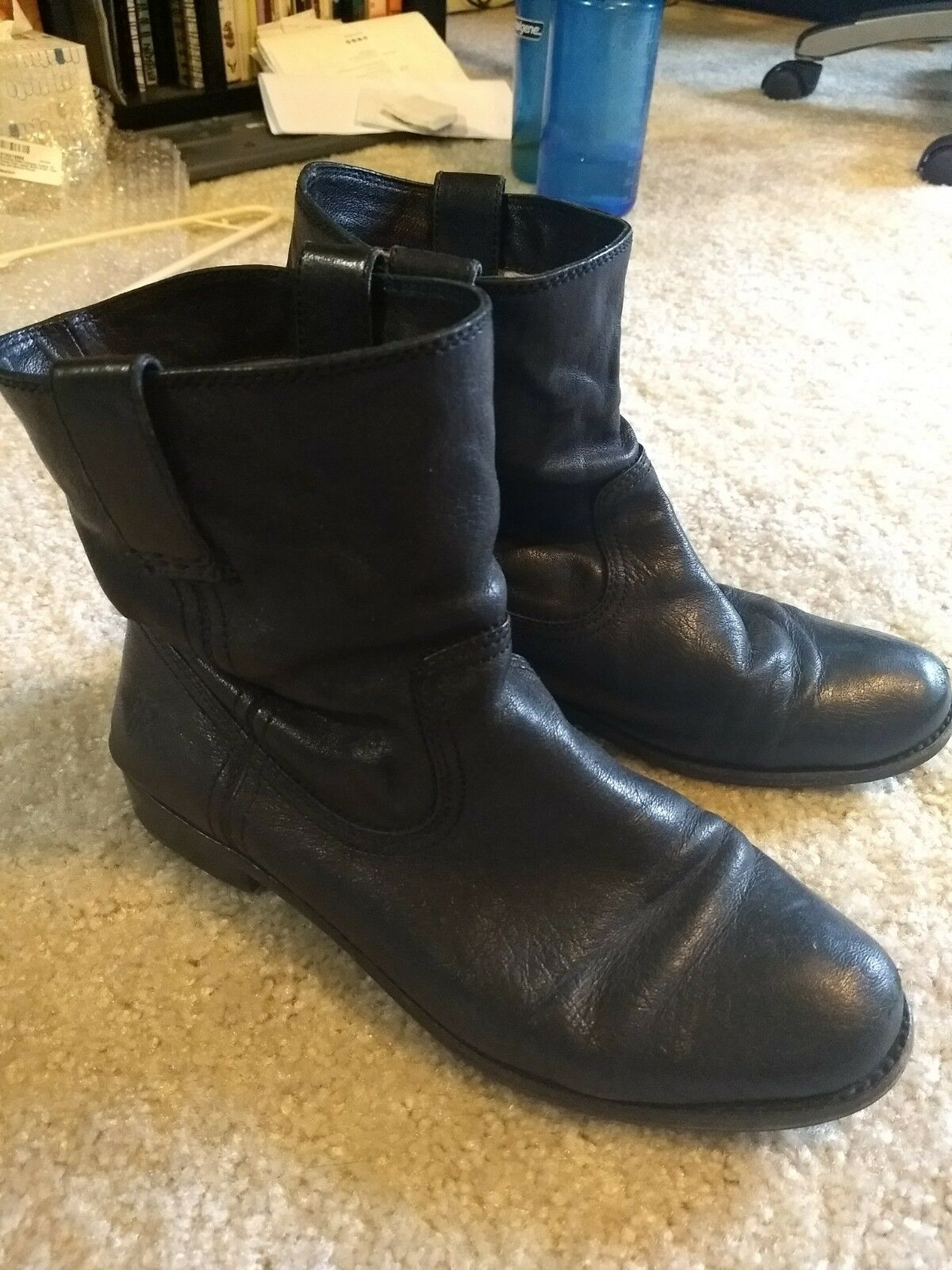 FRYE Women's Anna Shortie Flat Boot 10 M Black Slouch Ankle Pull On
