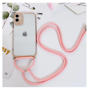 COQUE IPHONE+CORDON SILICONE IPHONE 7 8 11 IPHONE X XS XR IPHONE 11 PRO (ROSE)