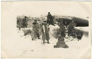 GERMAN-OFFICERS-WW1-WINTER-FUR-TRENCH-COATES-WAR-RPPC-ANTIQUE-PHOTO-POSTCARD
