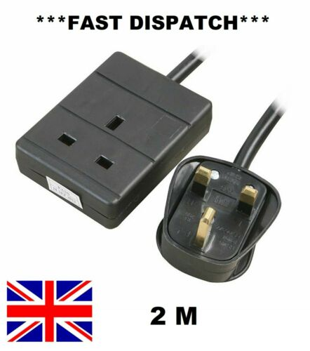 1 Way Gang Single Socket Power Mains Extension Lead Cable 5M Metre 13A Black