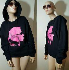 Genuine Karl Lagerfeld Black Pink Hoodie Cotton Hooded Sweater Jumper M 10 12 14