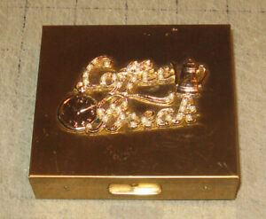 "Vintage COFFEE BREAK 3.5"" Gold Tone & Rhinestones Cigarette Case w/Lighter Area"
