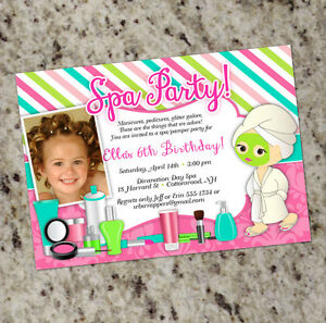 Spa pamper party sweet and girly birthday invitations with or w image is loading spa pamper party sweet and girly birthday invitations filmwisefo
