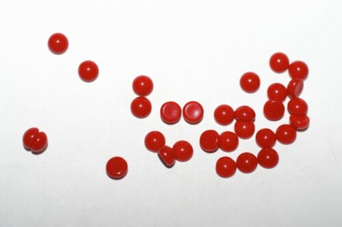 #593  5MM ROUND GLASS RED CABOCHONS  12PC