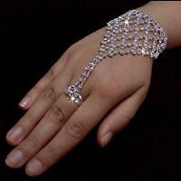 Handschmuck Armband mit Ring Kette Sklavenarmband Strass Hochzeit Brautschmuck