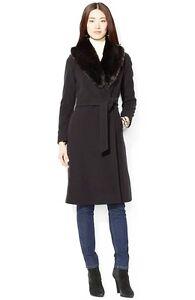 b2a353f4c945e  440 Ralph Lauren Faux Fur Collar Long Wrap Wool Blend Wrap Coat ...