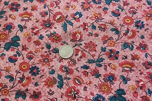 Antique-18thC-Hand-Blocked-amp-Hand-Painted-Toile-de-Jouy-Cotton-Fabric-18-5-034-X13-034