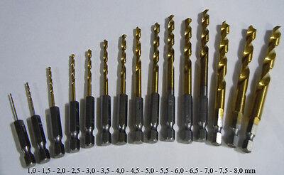 Bit Bohrer Satz HSS-G TIN 1,0-8,0mm Sechskant Bitbohrer 15-tlg. Spiralbohrer