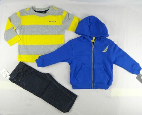 3-Piece Hoodie Nautica Baby boys set 12,18,24 months Tee /& Pants Set