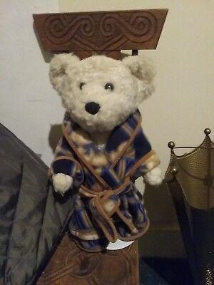 Chad Valley Teddy Bear Con Vestaglia E Pantofole In Buone Condizioni. 15 In-