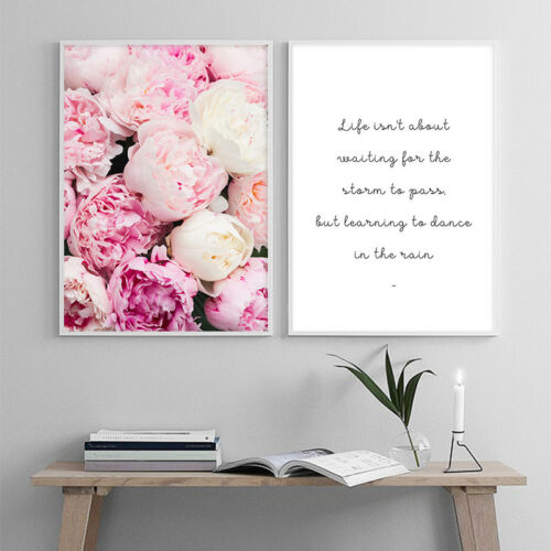 Pink Rose Flower Canvas Poster Flora Wall Art Prints Motivational Quote Painting