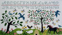 Sampler Hand Painted Needlepoint Canvas