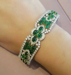 32-ct-Cabochon-Emerald-and-Diamond-Bracelet-18k-White-and-Yellow-Gold-HM1685SS8