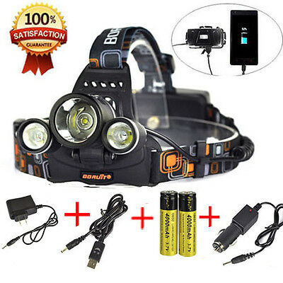 13000 Lm USB Rechargeable 3xXM-L2 LED Headlamp 2x18650 Headlight Head Torch Lamp