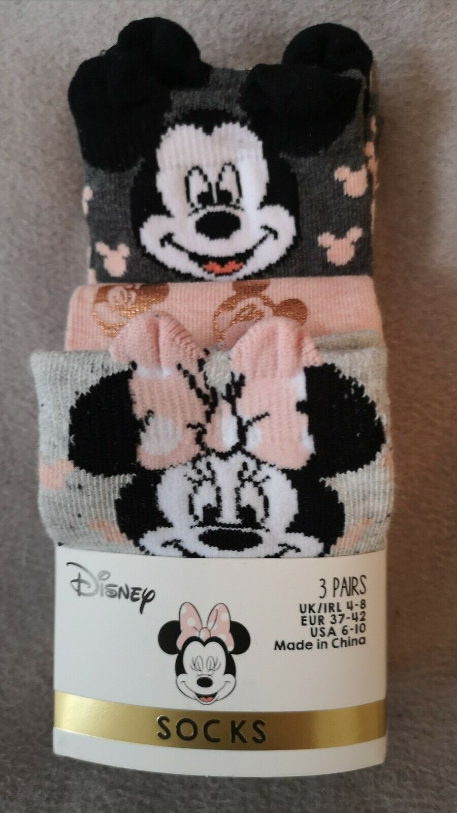 NEU 3 Paar Disney Micky Maus Minnie Maus Damen Socken Strümpfe 37-42 NEU OVP