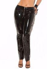 Black Vinyl Pants 1X Women Plus Zip Front Shiny Wet Look Skinny Pant Sexy Club
