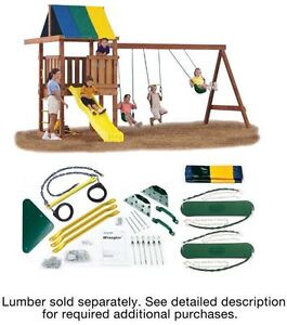 Outdoor Backyard Diy Kids Playground Swing Set Handle Canopy Trapeze