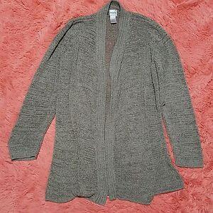 Chicos-Sz-1-M-Sweater-Open-Knit-Long-Sleeve-Open-Cardigan-Womens-Gray-Green-Tone