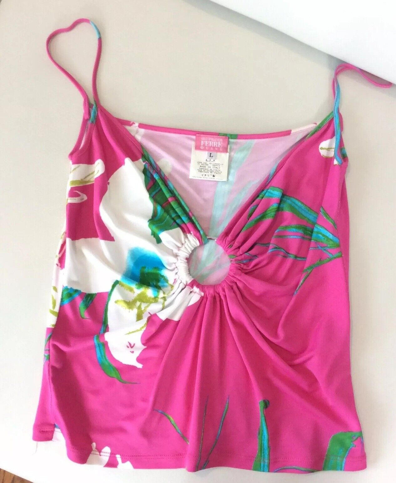 GIANFRANCO FERRE' JEANS TOP Rosa Tropical TANK Large MADE IN ITALY Vintage