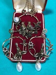 Vintage Style Art Nouveau Inspired Ornate Woodland Bird Necklace & Earrings Set