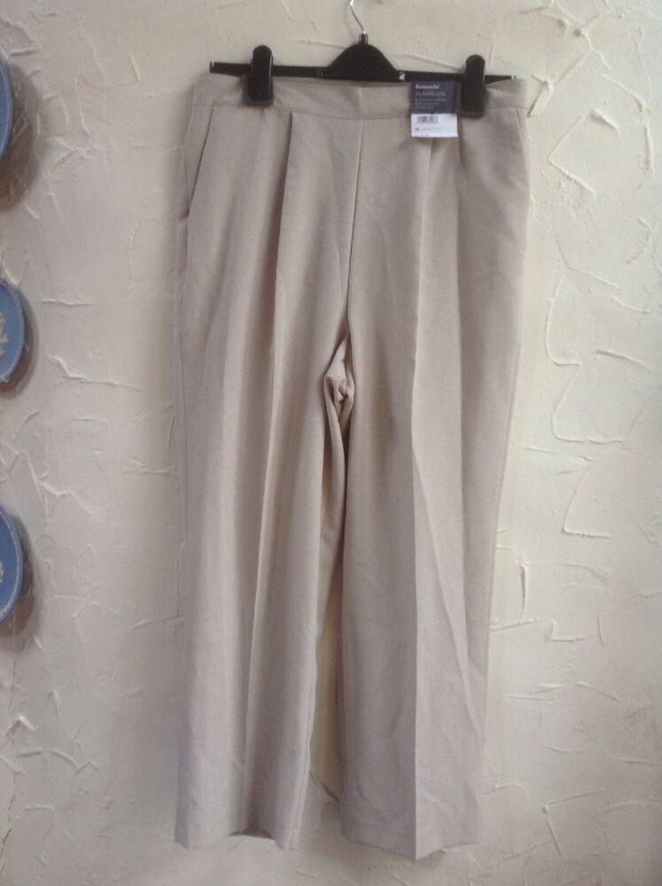 """* Nouveau ???? * Bonmarche Taille 18 (46) Classique Jambe 27"""" Beige Pantalon ????-he Size 18 (46) Classic Leg 27"""" Beige Trousers????"""