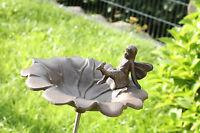 Gusseisen Vogeltränke Mit Elfe Auf Stab ( Abnehmbar) Metall Garten Figur