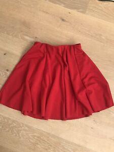 Zara | Size S | Bright Red Pleated Circle Elasticated Waist Mini Skirt