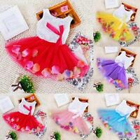 Baby Kids Girls Wedding Party Sleeveless Tutu Dress Lace Bowknot Floral Dress