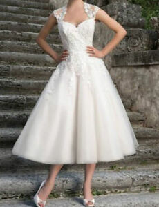 Short-Tea-length-Ivory-White-lace-Wedding-Dress-Evening-Bridal-Gown-Stock-6-16