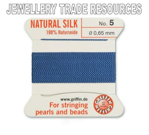 BLUE SILK STRING THREAD 0.65mm STRINGING PEARLS /& BEADS GRIFFIN SIZE 5