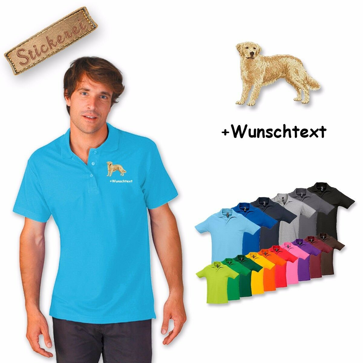 Polo Shirt Cotton Embroidered golden Retriever + Text of Your Choice