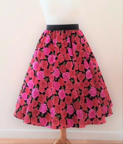 Rockabilly Pin Up Vintage Floral Pink Dress 1950s Circle Skirt Roses All Sizes