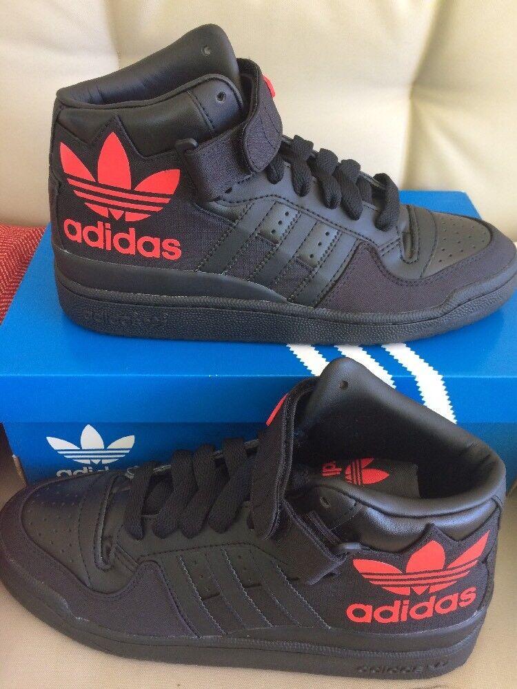 Men 8.5 Adidas Originals Forum Mid RS XL S75967 Black Ray/Red Strap Shoe Sneaker
