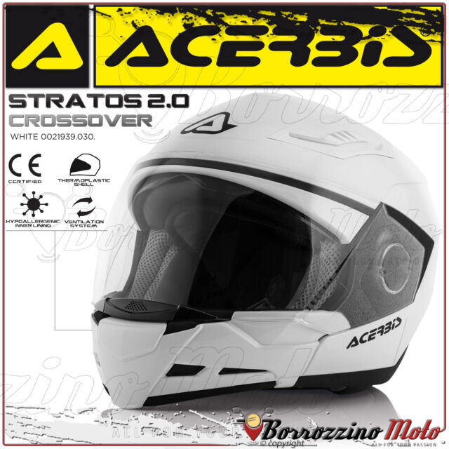 CASQUE ACERBIS STRATOS 2.0 CROSSOVER INTEGRAL/JET BLANC MOTO SCOOTER TAILLE S