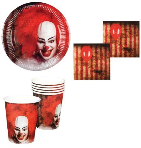 Halloween Effrayant Horreur Clown Fête Décoration de Table Set De Plaques Tasses Serviettes