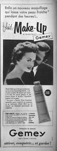 PUBLICITE-DE-PRESSE-1955-MAQUILLAGE-FLUID-MAKE-UP-GEMEY-PRODUIT-DE-BEAUTE