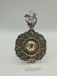 Ottima qualità antico tedesco HANAU Argento Ceppo da tè con manico di spedizione intorno al 1890