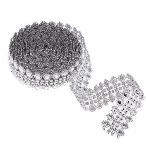 5 Yards Crystal Diamante Rhinestone Chain Ribbon Trim Sewing Applique Silver