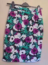 Laura Ashley Occasion UK8 EU36 US4 viscose/linen-blend floral lined pencil skirt