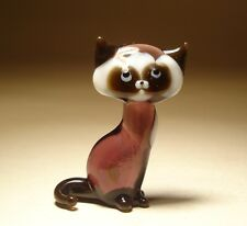 """Blown Glass """"Murano"""" Art Figurine Animal Small Purple and White Kitten CAT"""