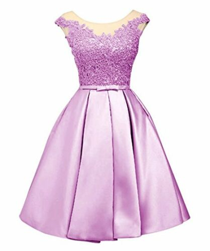 Stock Short Bridesmaid Dress Satin Formal Evening Party Prom Ball Gown Size 6-22